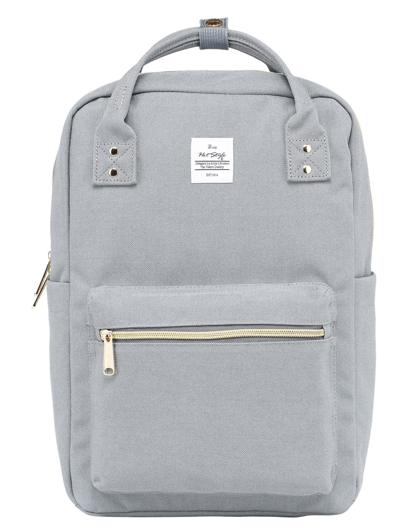 DISA Backpack Purse | Fits 15-inch MacBook | 14.3''x10''x5.5'' | Silver