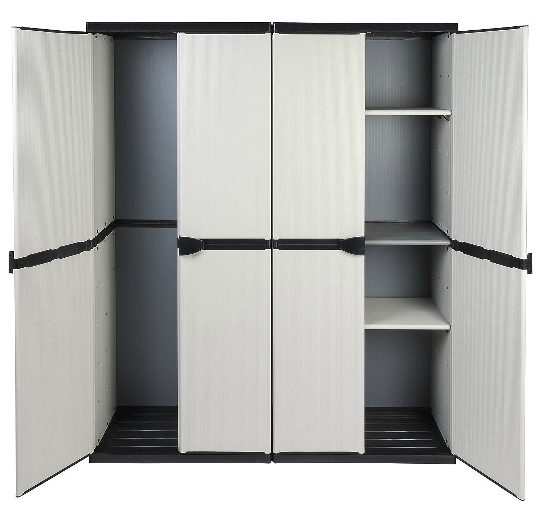 Vorteilspack: 2 robuste Kunststoff Spindschrä nke in hellem Grau. Jeder Schrank mit Maß : 68 x 39, 5 x 168 cm. TOPP!
