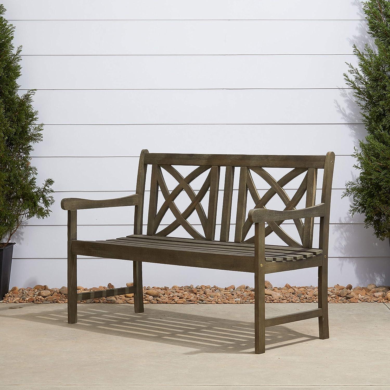 Vifah V1615 Renaissance Magnolia Outdoor Wood Garden Bench