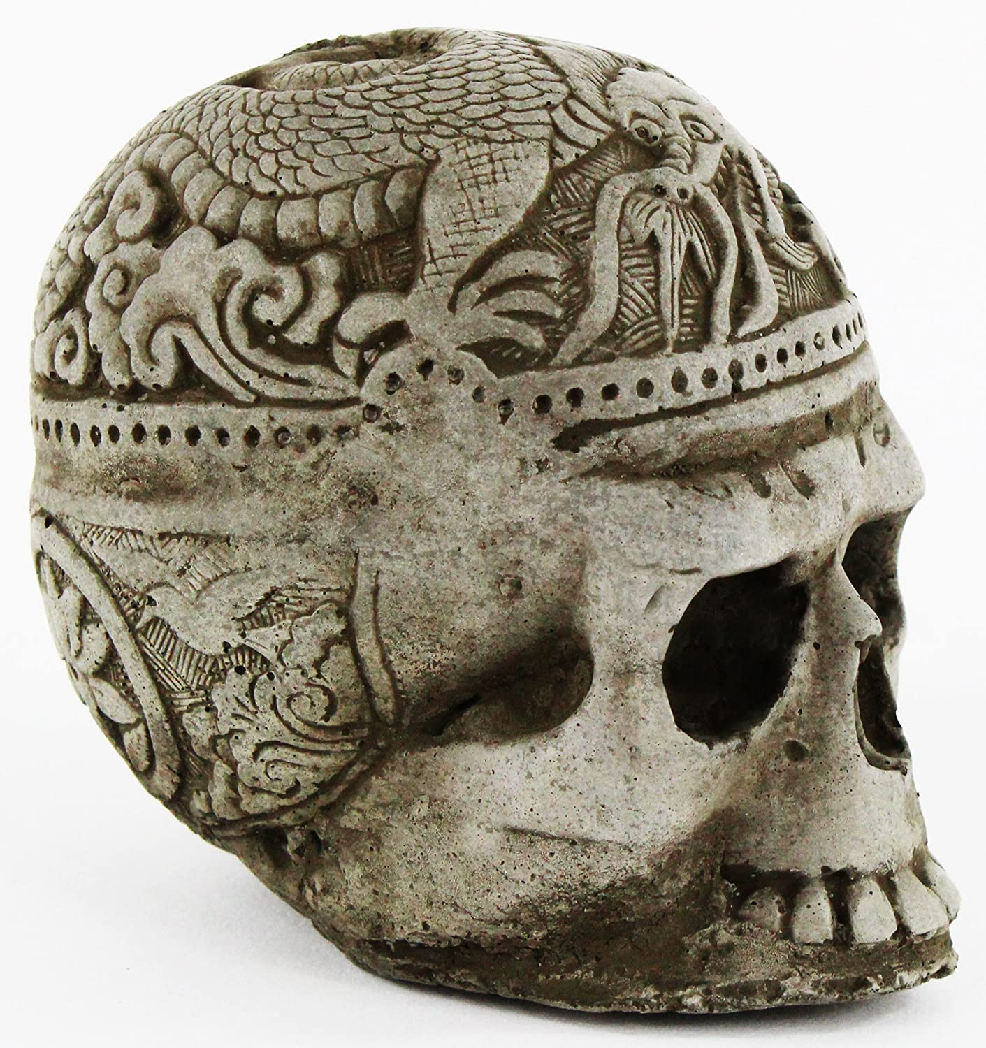Skull Head Statue with Dragon Home and Garden Statues Cement Figurine Cast Stone Halloween Skull Sculpture