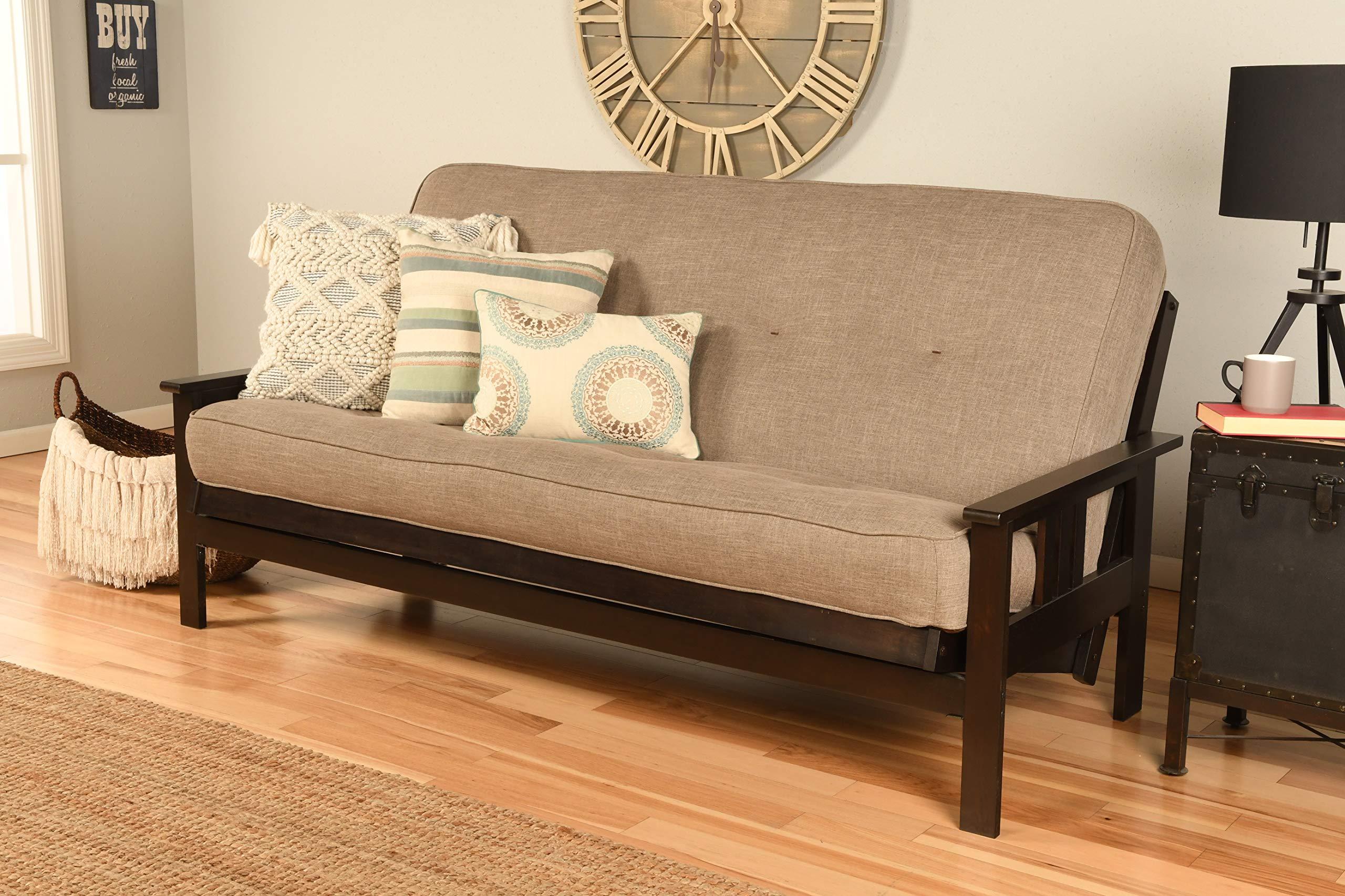 Kodiak Furniture KFMOEPLSTNLF5MD3 Monterey Futon Set with Espresso Finish, Full, Linen Stone by Kodiak Furniture