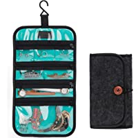 PACMAXI Travel Jewelry Organizer Roll for Necklace, Earrings, Rings, Bracelets,Hanging Jewelry Bag with Zippered Compartments
