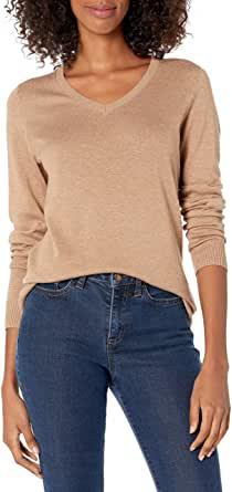 Amazon Essentials Lightweight V-Neck Sweater Pullover-Sweaters Mujer