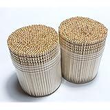 Makerstep Ornate Wooden Toothpicks with Holder, 1000 pcs (2 Packs of 500 pcs)