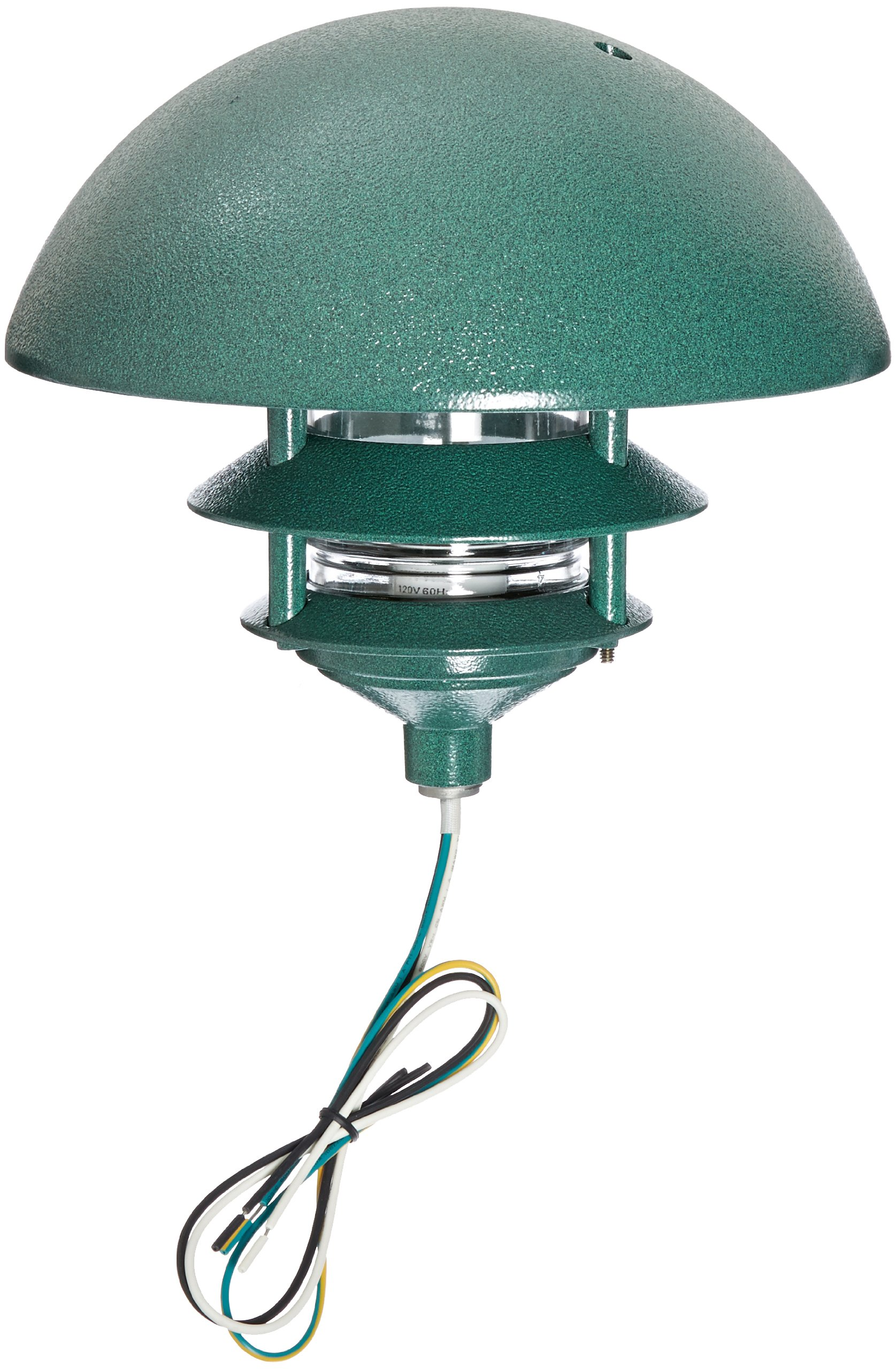 RAB Lighting LLD3VG Incandescent 3 Tier Lawn Light with Dome Cap, 75W Power, 1220 Lumens, 120VAC, Verde Green by RAB Lighting