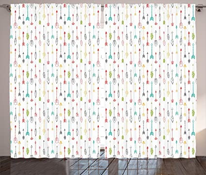 Ambesonne Arrow Curtains, Colorful Arrows Leaves Feathers Pattern Ethnic  Boho Modern Print, Living Room