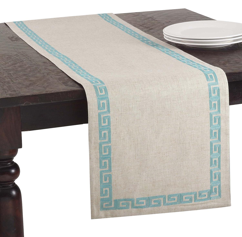 16 X 70 SARO LIFESTYLE 71510.GS1670B Greek Key Design Runner Calypso Collection Stitched Greek Key Design Table Runner//71510.Gs1670B 16X70 Oblong Grass