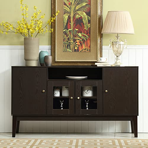 Mixcept 60 Modern Solid Wood Sideboard Buffet Table Storage Cabinet Tall Console Table with 4 Doors, Espresso