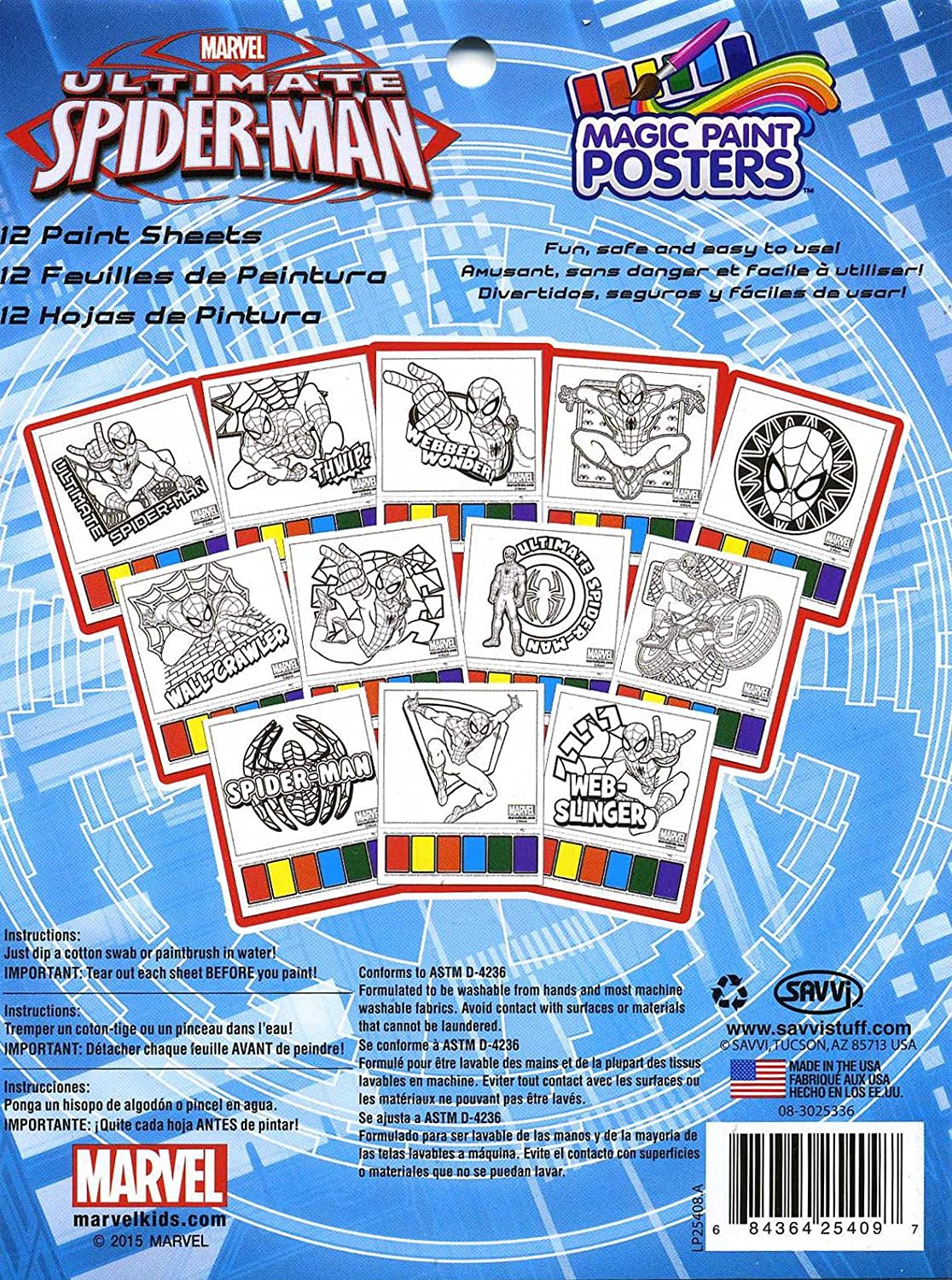 Spiderman Magic Paint Poster Book 12 Sheets