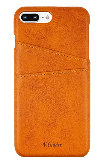 big sale 19325 82ff1 iPhone 8 Plus Wallet Phone Case | Ultra-Slim Leather Credit Card Holder |  Store Bank, Debit, Personal ID | Leather iPhone Case (Khaki)