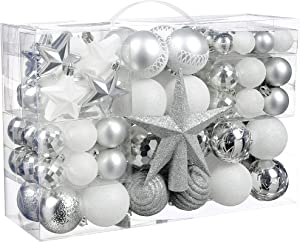 Christmas Ball Ornaments, 100 Pcs Assorted Shatterproof Christmas Ball Set with Gift Package, for Christmas Tree Decor(Silver and White)