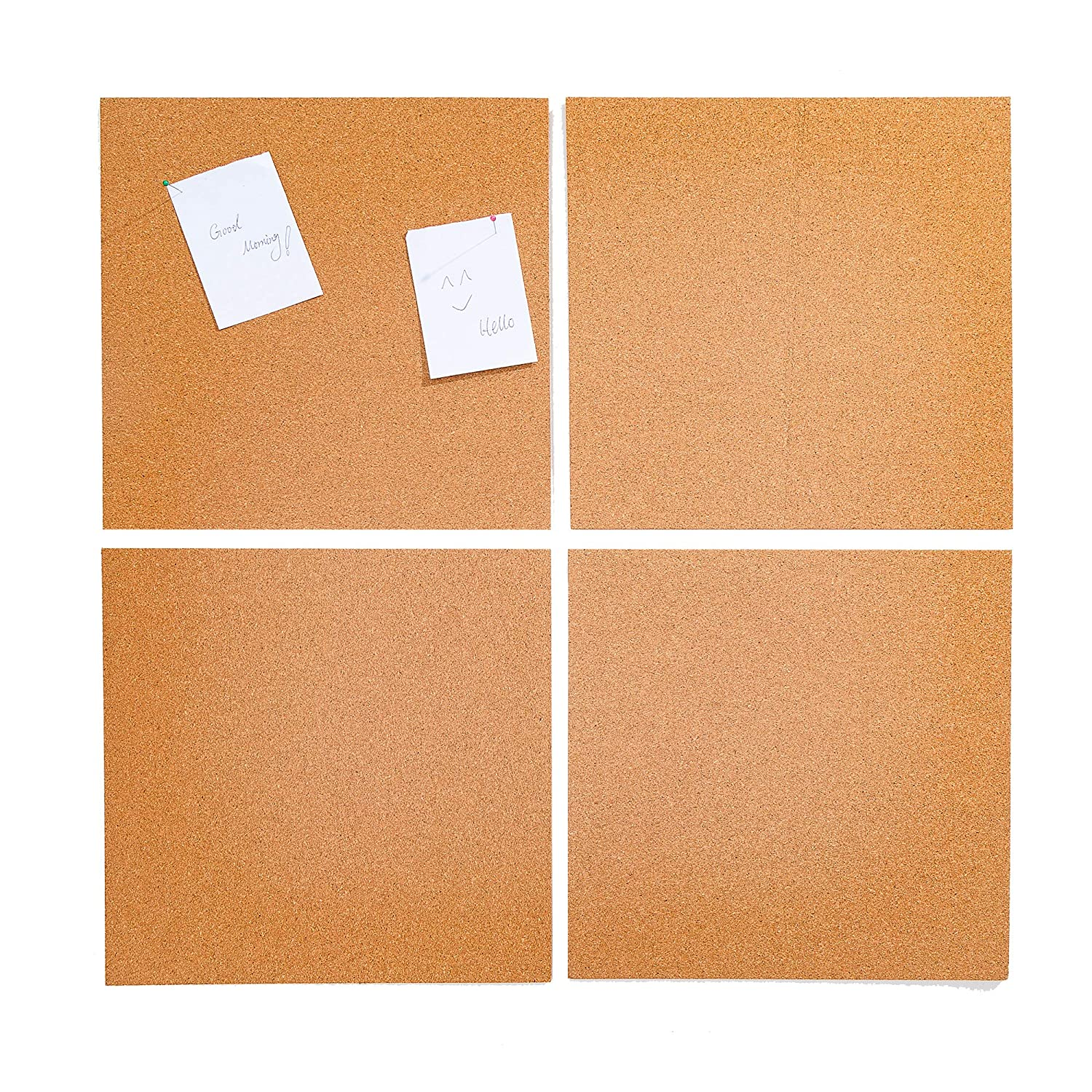 4 Pack Cork Tile Set 12 x 12 x 12 Inches Frame Less Mini Wall Bulletin Boards for Crafts Home Office Xena X-36183-1-HME1