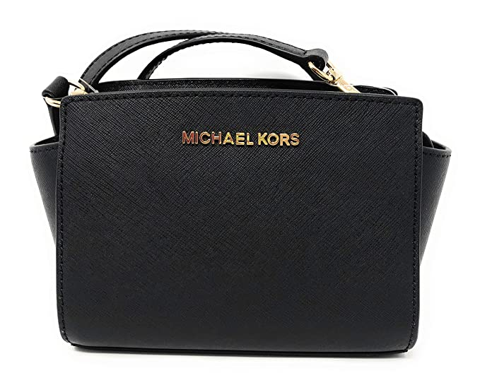 5b040ffee1d6 Michael Kors Selma Mini Saffiano Leather Crossbody Bag in Black ...