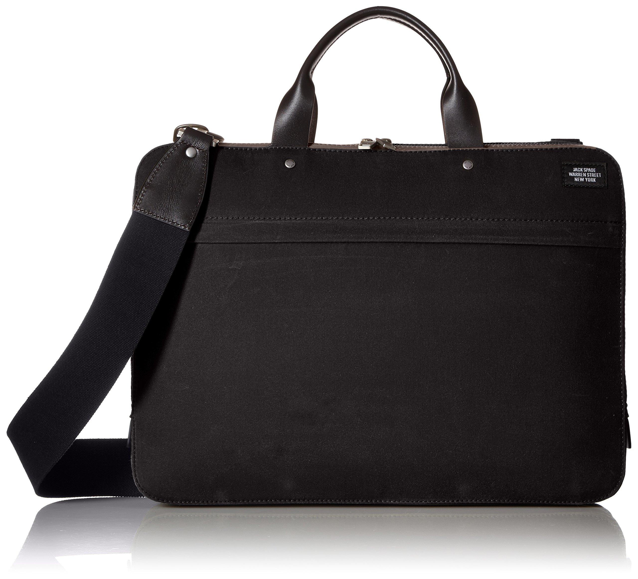 Jack Spade Waxwear Slim Briefcase,Chocolate,One Size