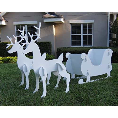 Christmas Outdoor Santa Sleigh and 2 Reindeer Set - Santa And Reindeer Outdoor Decorations: Amazon.com