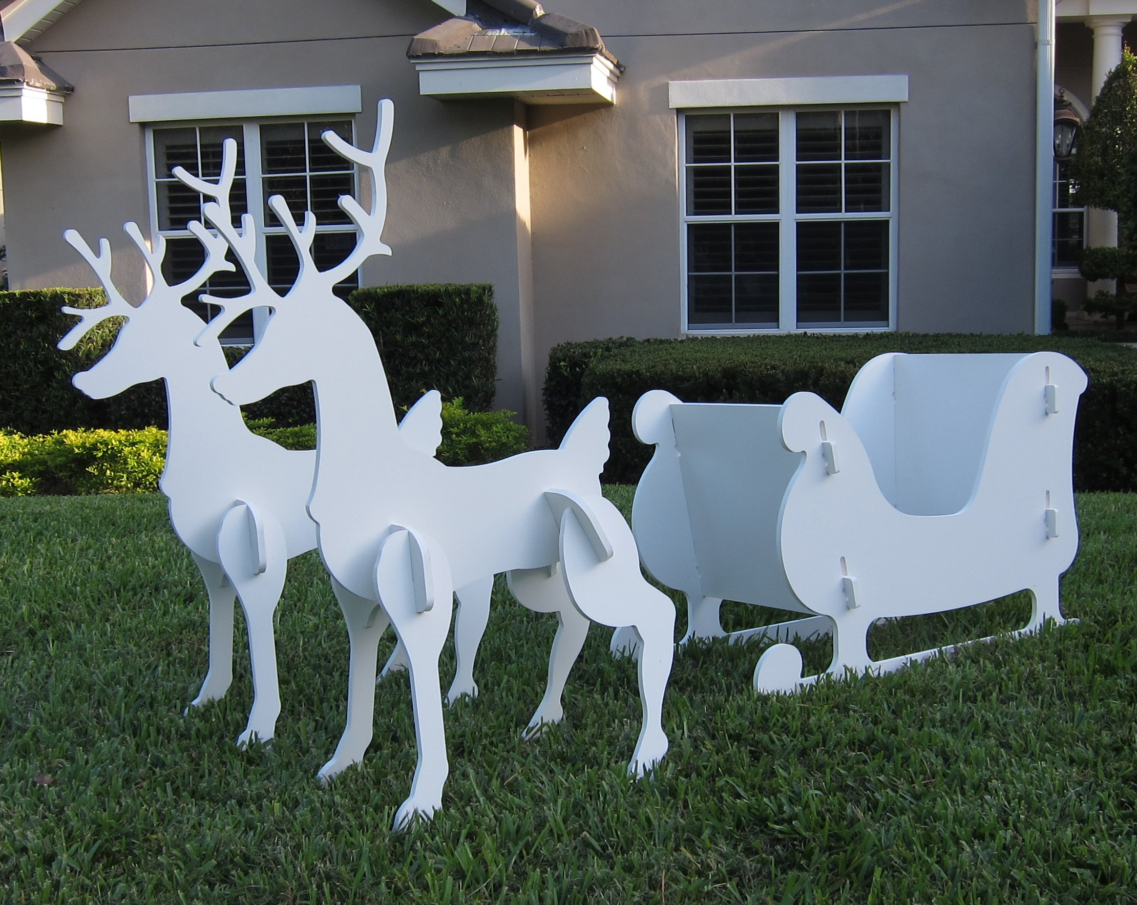 Christmas Outdoor Santa Sleigh and 2 Reindeer Set by Teak Isle