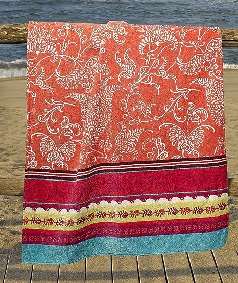Bassetti Granfoulard.- Toalla de playa Portofino V1 rojo en medida 90 x 180 cm