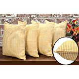Pack of 4, Honeycomb 100% Cotton Waffle Weave Farmhouse Decorative Throw Pillow Cover, Home Decor Design Set Cushion Case for Sofa Bedroom Car 18 x 18 Inch -Yellow/White.