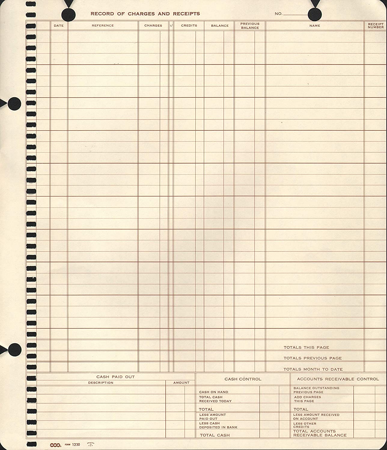 Record of Charge /& Receipts Journal 1200 Accounts Receiveable System 100
