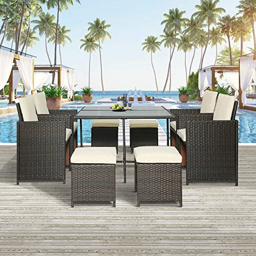 Merax Patio Furniture Sets Outdoor Rattan Wicker Patio Dining Table Set Garden Coversation Sofa Set 9 Piece