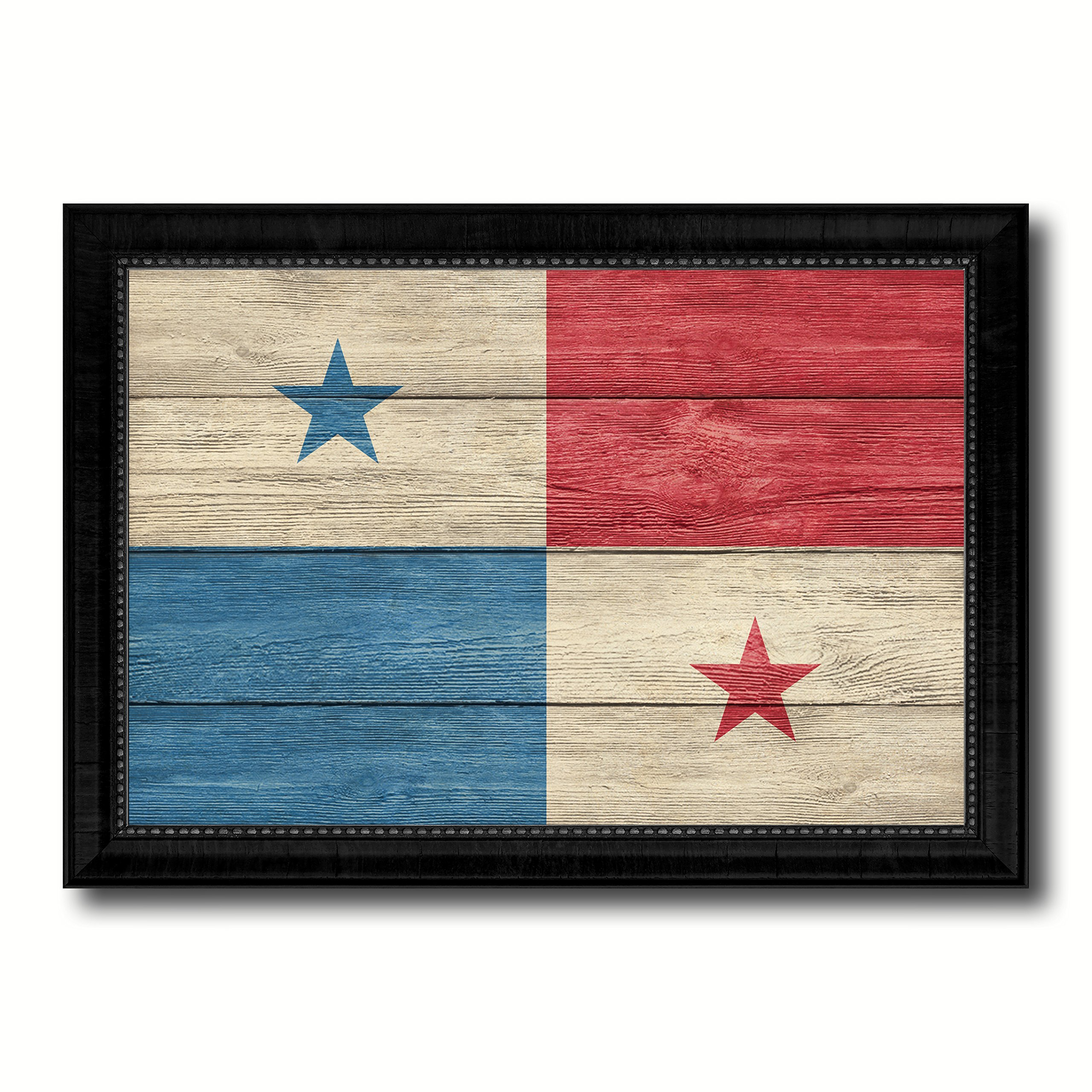 Panama Country Flag Texture Canvas Print, Wood Grain Black Picture Frame Gift Ideas Home Decor Wall Art Decoration