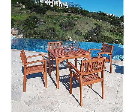 VIFAH Ibiza Outdoor Wood Stacking Table