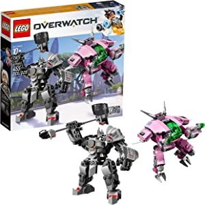 LEGO Overwatch D.Va and Reinhardt 75973 Mech Building Kit with popular Overwatch Character Minifigures and Buildable Rocket Hammer (455 Pieces)
