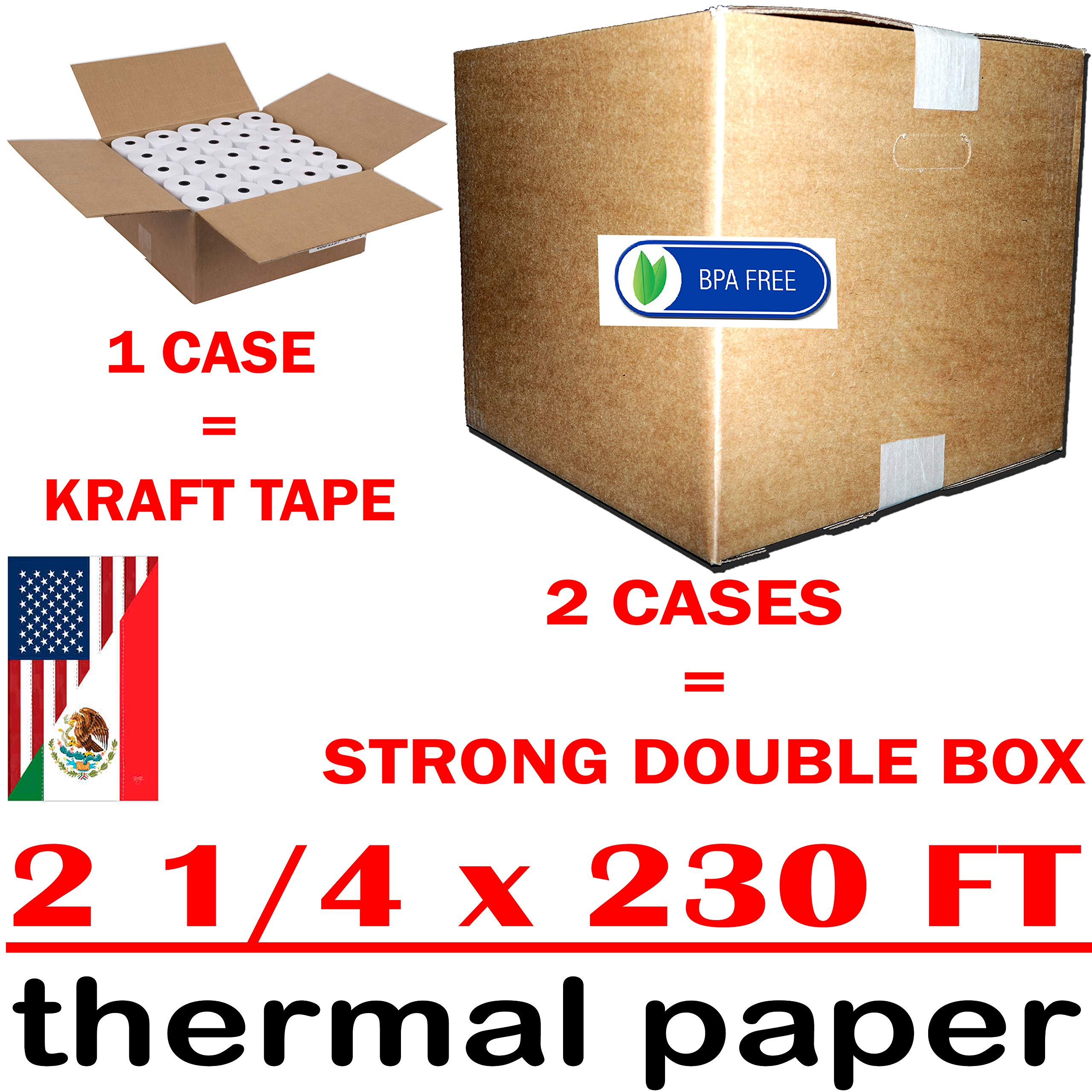 ✅ 2-1/4 x 230' 1-ply thermal paper 50 rolls bpa free cash register tape - Eco Friendly Value Pack from RegisterRoll | Premium Quality Thermal Paper by RegisterRoll