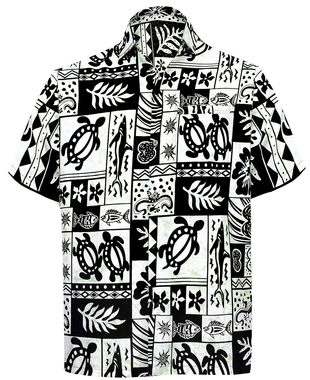 TALLA S - Pecho Contorno (in cms) : 96 - 101. LA LEELA Shirt Camisa Hawaiana Hombre XS - 5XL Manga Corta Delante de Bolsillo Impresión Hawaiana Casual Regular Fit Camisa de Hawaii Azul Real