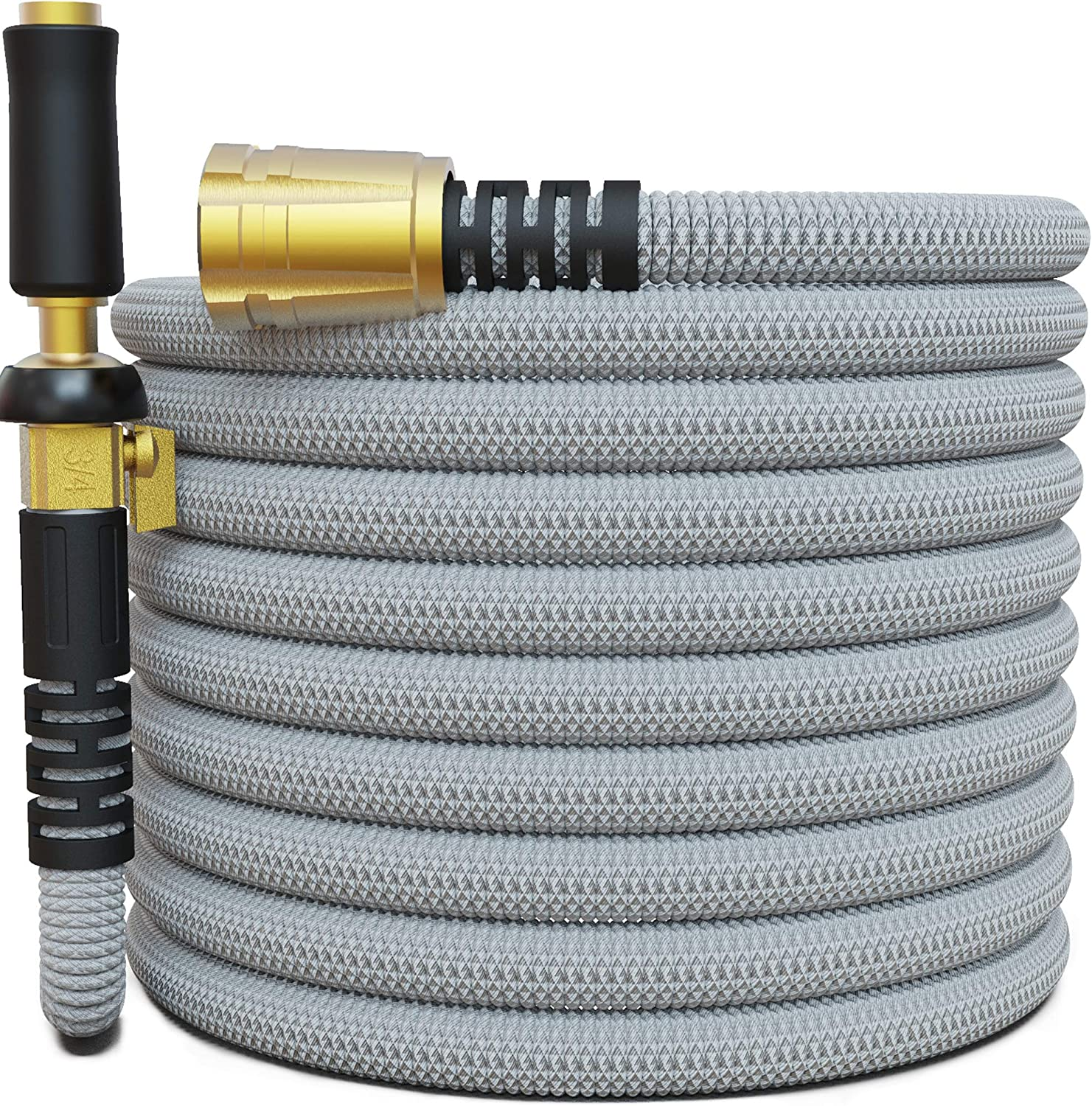 "TITAN 15FT Garden Hose - All New Expandable Water Hose with Triple Latex Core 3/4"" Easy Removal Solid Brass Fittings Expanding Extra Strength Fabric Flexible Hose with Jet Nozzle and Washers (G)"
