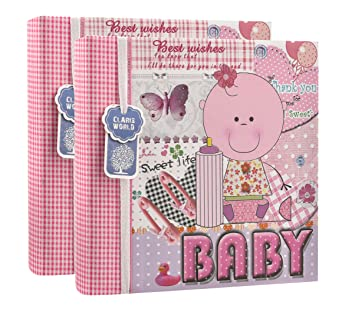 Baby Shower Present for Family Ideal Gift For Christenings 2 x Arpan 6x4 Baby Slip In Case Memo Photo Album For 200 Photos Pink Baby Girl