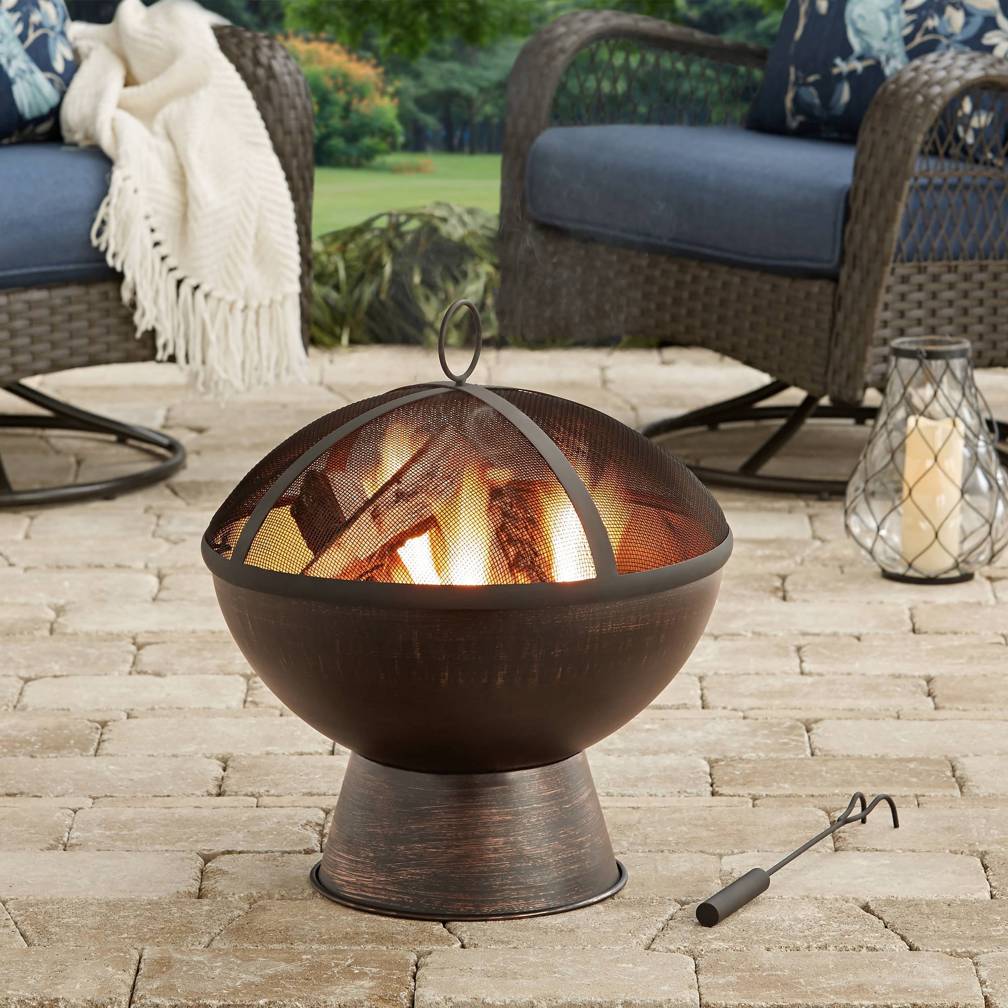 21'' Outdoor 100 percent iron Bronze Finish Wood-Burning Fire Bowl by WoodFirePit