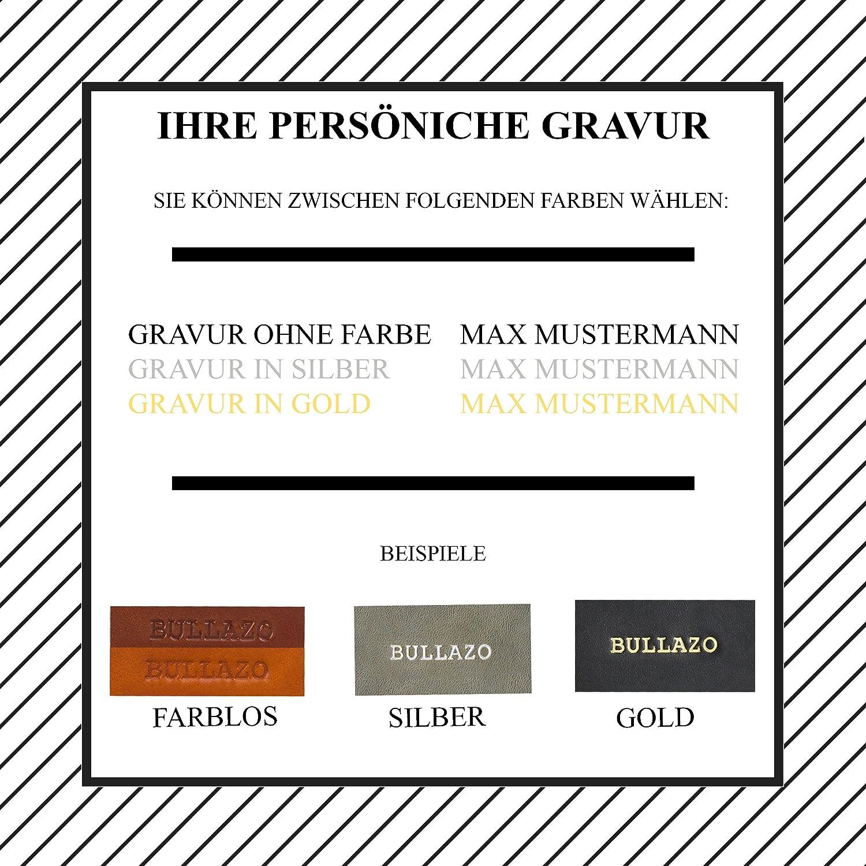 BULLAZO CONTACTO Hochwertiges Visitenkartenetui aus Leder RFID Schutz//Cognac