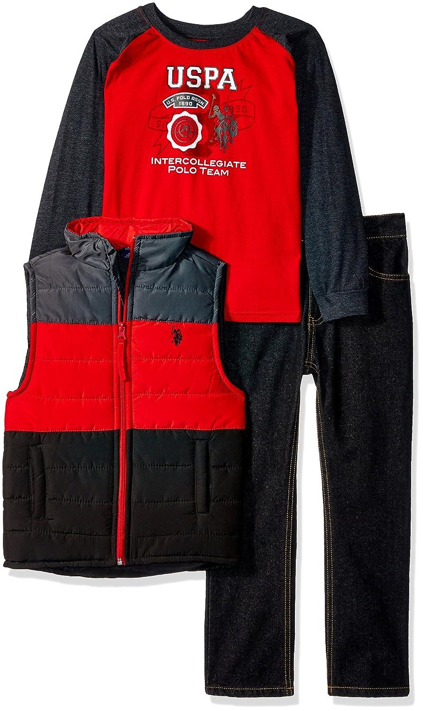 Boys Little T-Shirt Vest and Pant Set Polo Assn U.S
