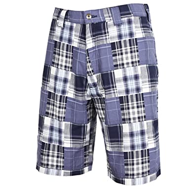 Amazon.com: Tres Bien Golf Mens Cotton Patchwork Plaid Shorts ...