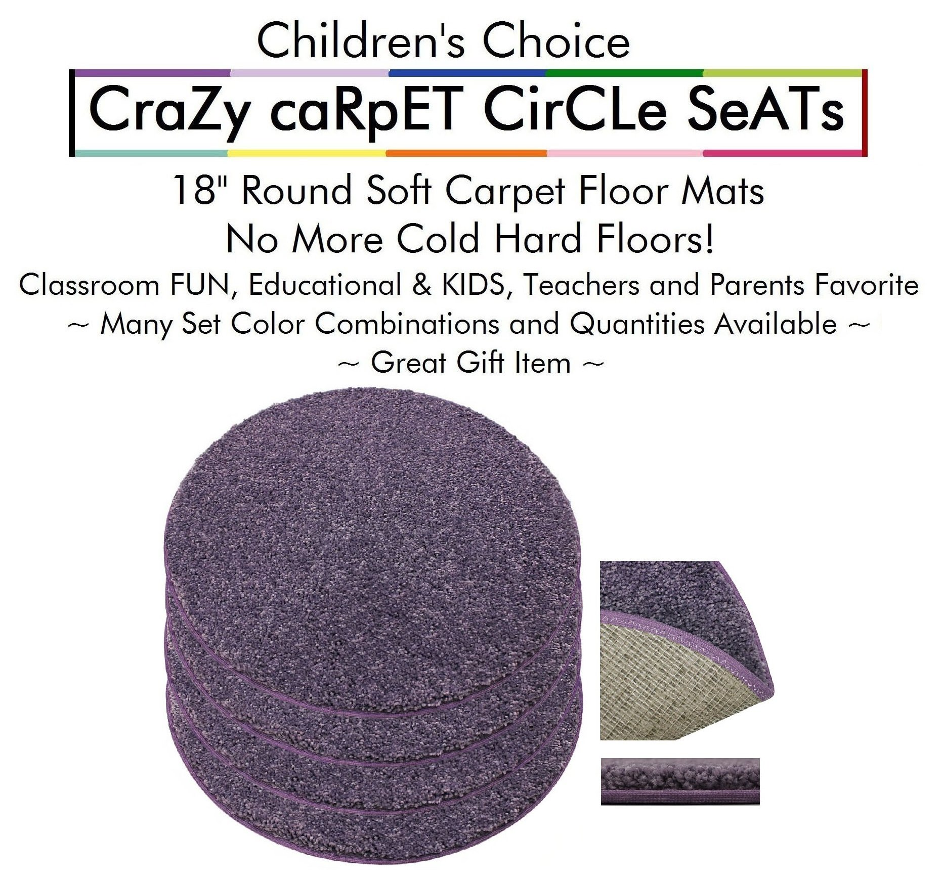 "Set 4 - Misty Lilac Kids CraZy CarPet CirCle SeaTs 18"" Round Soft Warm Floor Mat - Cushions 