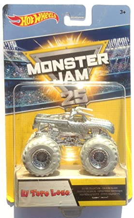 "Hot Wheels Monster Jam - DWP03 El Toro Loco - edición plateada ""25 years"