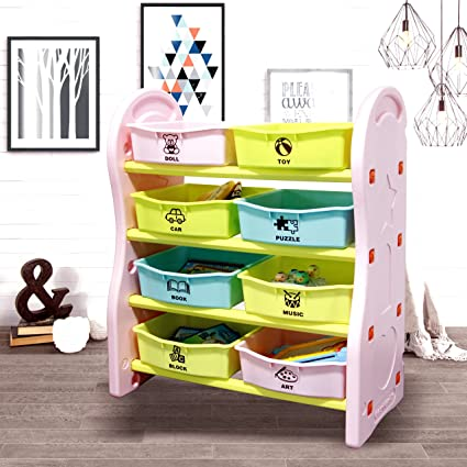Gupamiga For Kids CollectionRack Of Children Deluxe Plastic Bookshelf And Basket Frame Sundries With 8 Toy