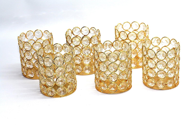 Gold Crystal Bead Votive Candleholder - Set of 6