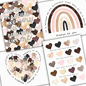 """Diversity Art for Kids - Four Pack of Posters - Celebrate Diversity and Promote Unity - Four Unique Posters for Classroom or Playroom - UNFRAMED Poster Prints - 8x10"""", 11x14"""", 16x20"""" or 24x36"""""""