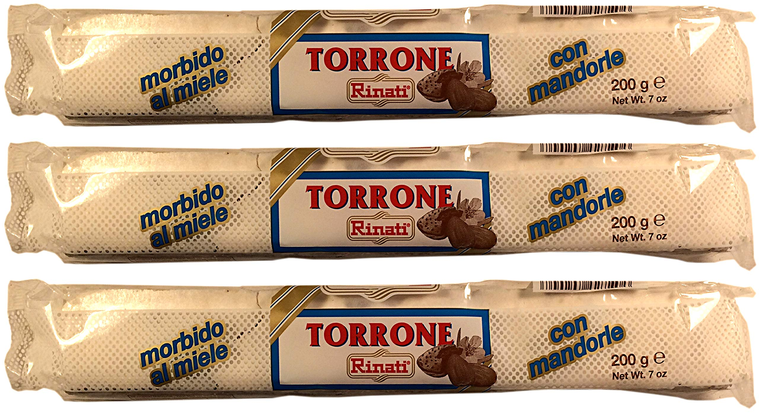Rinati, Soft Nougat with Almonds (Pack of 3), Imported from Italy, 7 oz (each) by Rinati