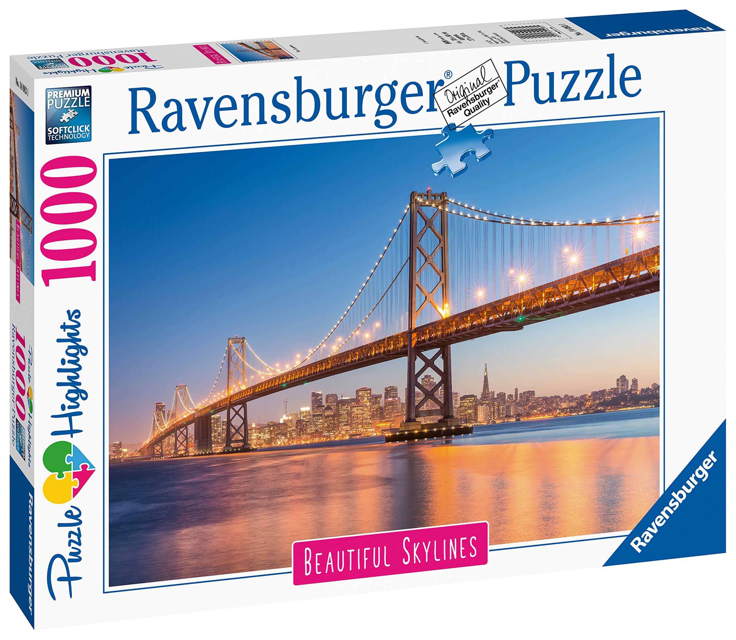 Ravensburger 14083 San Francisco Skylines-Golden Gate Bridge 1000pc Jigsaw Puzzle, Multicoloured, One Size