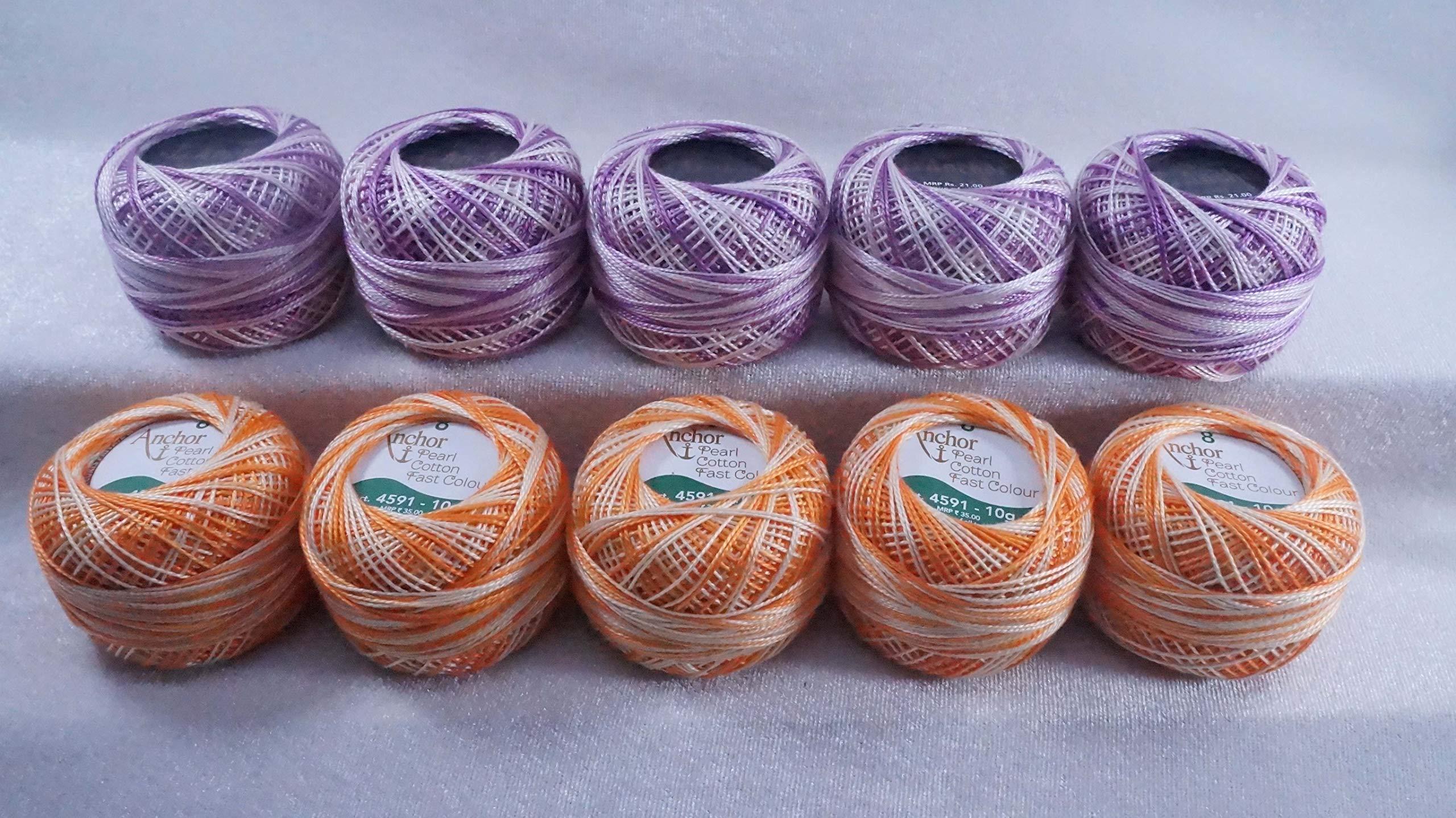 10 Pcs Violat & Orange Cotton Anchor Thread Mercerized Yarn Craft Knitting Tatting Skein