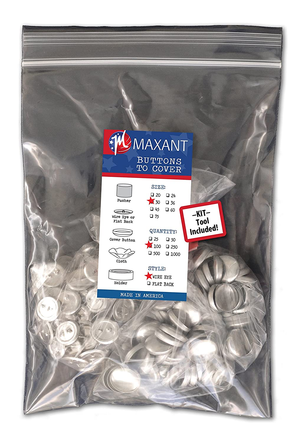 100 Buttons to Cover - Made in USA - Self Cover Buttons with wire eyes size 20 with Tool Maxant Buttons
