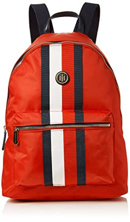 Tommy Hilfiger - Poppy Backpack Corp Strp, Mochilas Mujer, Rojo (Red/Core