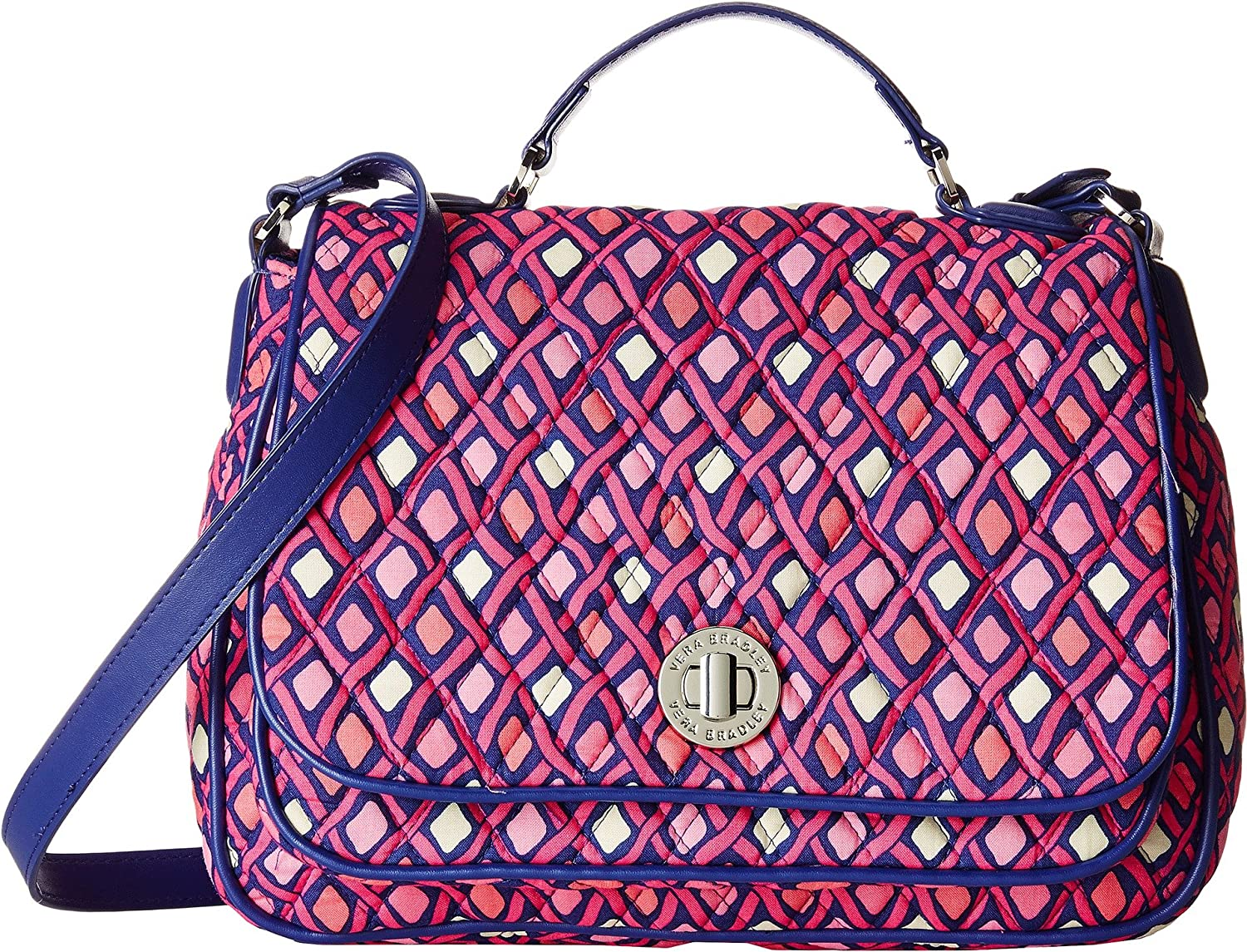 Vera Bradley Women's Turnlock Crossbody Katalina Pink Diamonds/Navy Crossbody Bag