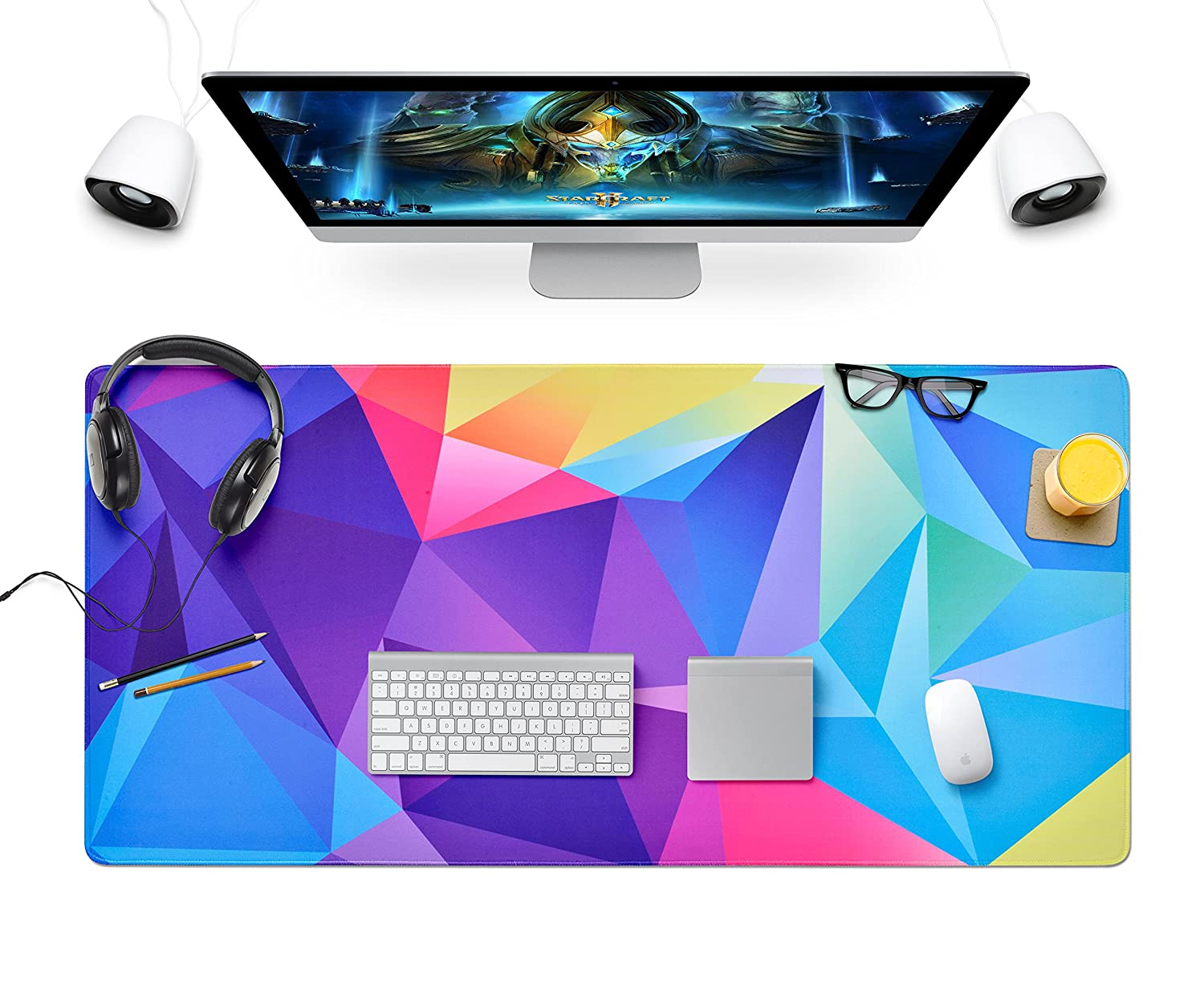 BLTech Large Gaming Mouse Pad Extended Mousepads Keyboard Pad Water-Resistant Desk Pad, Desk Writing Mat with Non-Slip Stitched Edges XXL(800×400×3mm)-Graphics Design
