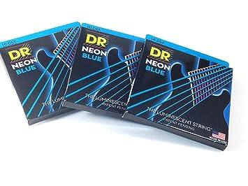Dr cuerdas para guitarra eléctrica (3 unidades), color azul neón 09 - 46 luz Tops - pesado hombre: Amazon.es: Instrumentos musicales