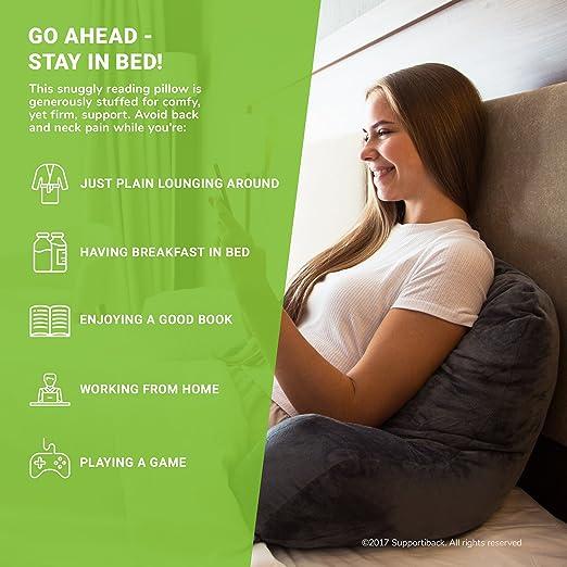 Supportiback® | La almohada de lectura #1 en Amazon | Diseñada por Doctores y con Súper Relleno para una Postura Cómoda, de Apoyo y Adecuada – Funda ...