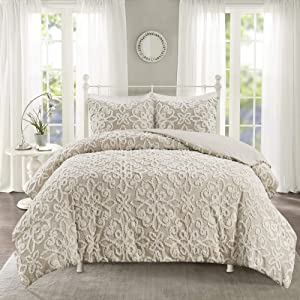 """Madison Park Tufted Chenille 100% Cotton Duvet- Modern Luxe All Season Comforter Cover Bed Set with Matching Shams, Sabrina, Medallion Taupe Full/Queen(90""""x90"""") 3 Piece"""